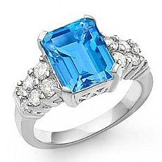 4.4CT Emerald Blue Topaz Gemstone Diamond Fashion Ring 14k Gold
