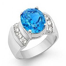 4.6ct Blue Topaz Round Diamond Fashion Women Ring 14k Gold