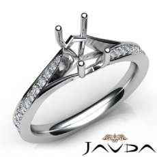 Pave Setting Diamond Engagement Emerald Cut SemiMount Ring 14K White Gold 0.35Ct
