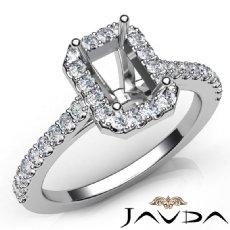 Diamond Engagement Emerald SemiMount Shared Prong Setting Ring 14K W Gold 0.50Ct