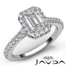 Classic Halo Pave Side Stone Emerald diamond engagement Ring in 14k Gold White