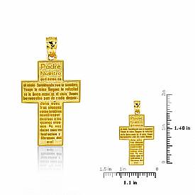 14K Yellow Gold Jesus Cross Charm Pendant 7.3g.