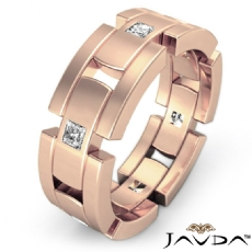 Block Link  Princess Diamond Men's Eternity Wedding Band 14k Rose Gold (0.6Ct. tw.)