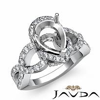 Diamond Engagement Halo Pave Setting Ring Pear Semi Mount Platinum 950 (0.8Ct. tw.)