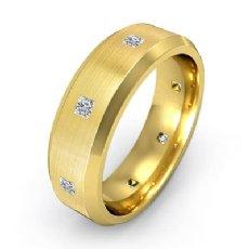 Bevel Edge Brushed Bezel Diamond Eternity Mens Wedding Band 14k Gold Yellow  (0.5Ct. tw.)