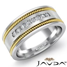 Round Channel Diamond Rope Edges Men's Wedding Band 14k 2 Tone Gold 0.20 Ct