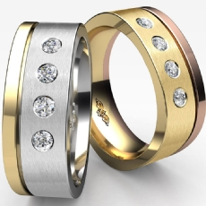 Eurofit Polished & Matte 4 Stone Men's Half Wedding Band 14k 2 Tone Gold 0.20 Ct