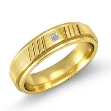 Matte Finish Round Edges Men's Diamond Wedding Band 18k Gold Yellow  (0.1Ct. tw.)