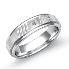 Matte Finish Round Edges Men's Diamond Wedding Band 14k White Gold 0.10 Ct