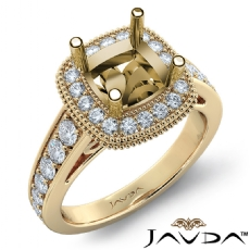 Diamond Engagement Cushion Semi Mount 18k Gold Yellow Halo Milgrain Ring  (0.8Ct. tw.)