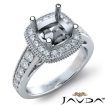 Diamond Engagement Cushion Semi Mount 14k White Gold Halo Milgrain Ring 0.8Ct - javda.com