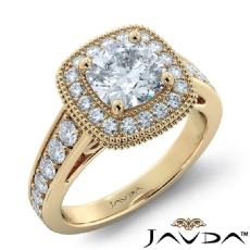 Filigree Milgrain Halo Pave Cushion diamond engagement Ring in 14k Gold Yellow