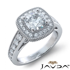 Halo Cathedral Milgrain Cushion diamond engagement Ring in 18k Gold White