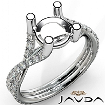 French Cut Pave Diamond Engagement Round Semi Mount 14K White Gold Ring 0.45Ct