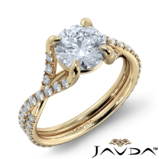 French Cut Classic Sidestone Round diamond engagement Ring in 14k Gold Yellow