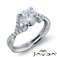 French V Pave Criss Cross Round diamond engagement Ring in 18k Gold White