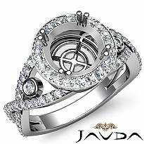 Diamond Engagement Ring Platinum 950 Round Semi Mount Halo Pave Setting (1.4Ct. tw.)