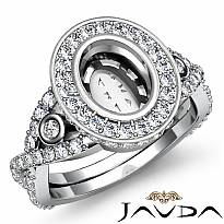 Diamond Engagement Ring Halo Pave Setting Platinum 950 Oval Semi Mount (1.65Ct. tw.)