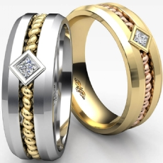 Polished Rope Design Men's Princess Diamond Wedding Band 14k 2 Tone Gold 0.10 Ct