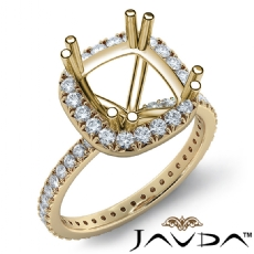 Diamond Engagement Halo French Cut Ring Cushion Semi Mount 14k Gold Yellow  (0.75Ct. tw.)