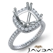 Diamond Engagement Halo French Cut Ring Cushion Semi Mount 14k White Gold 0.75Ct - javda.com