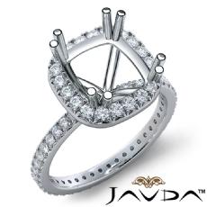 Diamond Engagement Halo French Cut Ring Cushion Semi Mount 14K White Gold 0.75Ct