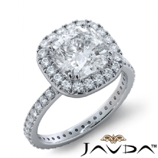 French V Pave Halo Eternity Cushion diamond engagement Ring in 14k Gold White