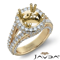 Halo Prong Set Diamond Engagement Round Ring 14k Gold Yellow Semi Mount  (1.7Ct. tw.)