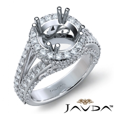Halo Prong Set Diamond Engagement Round Ring 18k Gold White Semi Mount  (1.7Ct. tw.)