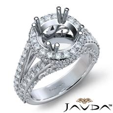Halo Prong Set Diamond Engagement Round Ring 14K White Gold Semi Mount 1.70Ct