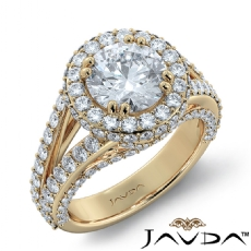 Micro Pave Bridge Accent Halo Round diamond engagement Ring in 14k Gold Yellow