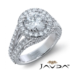 Micro Pave Bridge Accent Halo Round diamond engagement Ring in 18k Gold White
