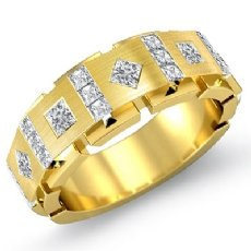 Square & kite Princess Diamond Men's Half Wedding Band 14k Gold Yellow (1Ct. tw.)