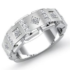 1 Carat Square & kite Princess Diamond Men's Half Wedding Band 14k White Gold