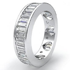 Baguette Channel Set Diamond Womens Eternity Wedding Band 14k W Gold Ring 3.5Ct