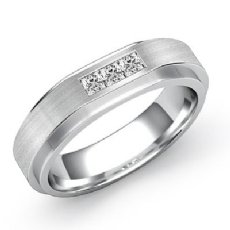 3 Stone Princess Diamond Matte Men's Half Wedding Band 14k White Gold 0.35 Ct