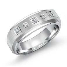 Matte Euro Style Shank Diamond Men's Half Wedding Band 14k White Gold 0.30 Ct