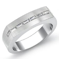 Matte Euro Style Baguette Diamond Men's Half Wedding Band 14k White Gold 0.50Ct