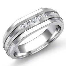 Matte Flat Edge Channel 0.15 Ct Diamond Men's Half Wedding Band 14k White Gold