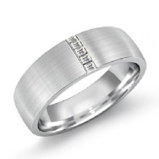 Channel Baguette Diamond Matte Men's Half Wedding Band 14k White Gold 0.20 Ct