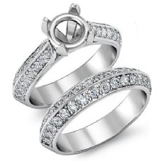 1 Ct Pave Diamond Engagement Ring Round Semi Mount Bridal Sets 14K White Gold