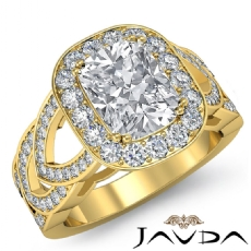 Designer Shank Halo Pave Cushion diamond engagement Ring in 14k Gold Yellow