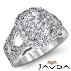 Designer Shank Halo Pave Cushion diamond engagement Ring in 14k Gold White