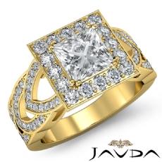 Designer Shank Halo Pave Princess diamond engagement Ring in 18k Gold Yellow