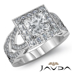 Designer Shank Halo Pave Princess diamond engagement Ring in 14k Gold White