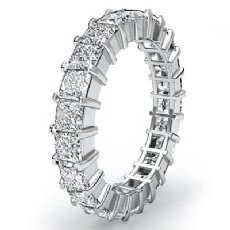 Wedding Band Womens Eternity Ring 14k White Gold Prong Set Princess Diamond 4Ct