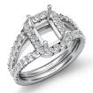 1Ct Diamond Engagement Ring 14k White Gold Emerald Semi Mount Halo Pave Setting - javda.com