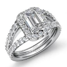 Prong Set Sidestone Halo Emerald diamond engagement Ring in 14k Gold White