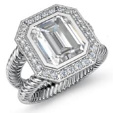 Rope Shank Bezel Halo Pave Emerald diamond engagement Ring in 14k Gold White