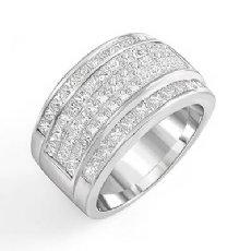 3.75 Ct Princess Diamond Men Wedding Ring 14k White Gold